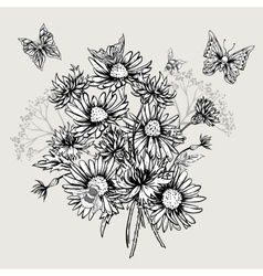 Summer Monochrome Floral Bouquet Greeting Card vector