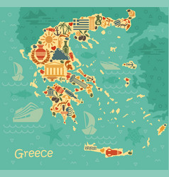 Symbols of greece in the form of map vector