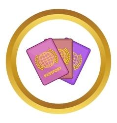 Three passports icon vector