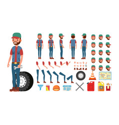 Truck driver animated trucker character vector
