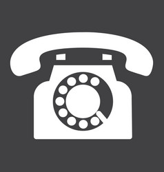 vintage phone solid icon contact us and website vector image
