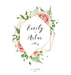 wedding invitation floral invite card art design vector image