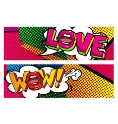 wow and love word bubble vector image