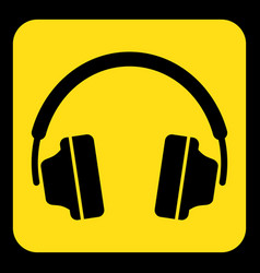 Yellow black information sign - headphones icon vector