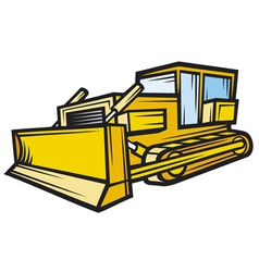yellow caterpillar building bulldozer vector image