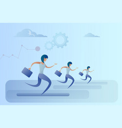 business people group run team leader competition vector image vector image