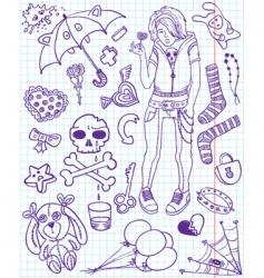 emo doodles vector image