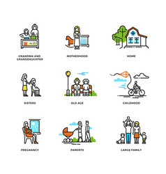 family life marriage and love childhood and old vector image vector image