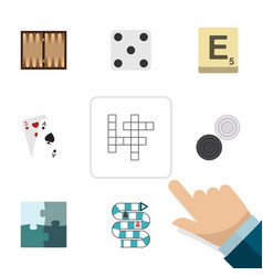 flat icon entertainment set of ace multiplayer vector image vector image