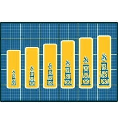 Gas rig icons on blueprint chart diagram vector image