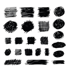 Hand drawn shaded scribble shapes vector