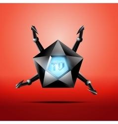 Hexagonal screen TV with metal tentacles vector image