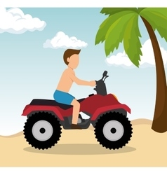 Man drive atv on beach vector