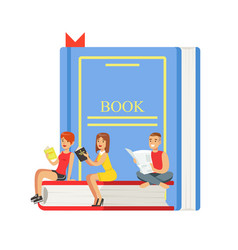 Micro young women and man sitting on a giant book vector