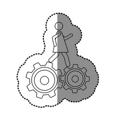 monochrome contour sticker with woman over two vector image vector image