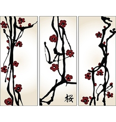 Set of cherry blossom banners vector image