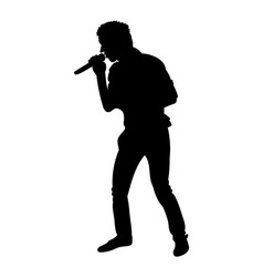 silhouettes of showman singer with microphone vector image vector image