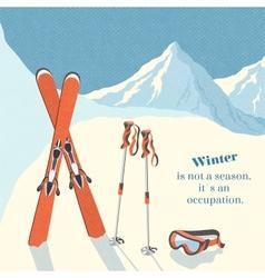 Ski winter mountain landscape background vector