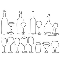 wine glass one line drawing vector image vector image