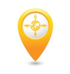 Arrowsandglobe map pointer yellow vector