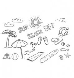 Beach doodles vector