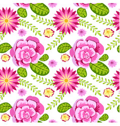 bright floral seamless pattern flower and leaf vector image vector image