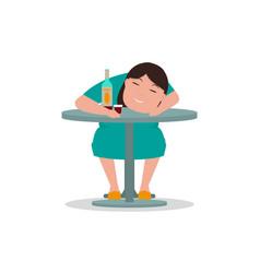 cartoon drunken woman sleeping table vector image vector image