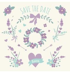Floral Design Wedding Engagement Elements vector image vector image