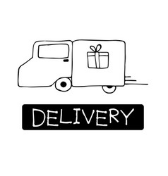hand drawn cargo truck doodle delivery concept vector image