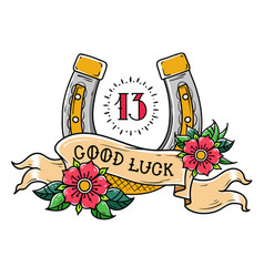 Tattoo good luck horseshoe with flowersnumber 13 vector