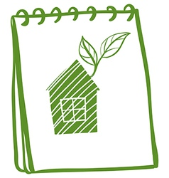 A notebook with a drawing of a house with leaves vector image