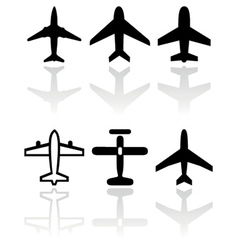 airplane symbol set vector image vector image