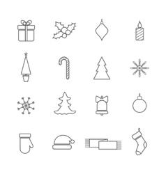 Christmas line icons set vector image