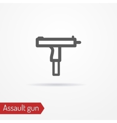 Compact assault weapon line icon vector