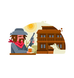 cowboy with revolver drinks beer in pub vector image vector image