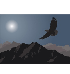 eagle flying over the mountains vector image