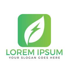 green leaf flash logo vector image vector image
