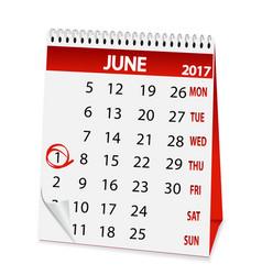 icon calendar for june 1 2017 vector image vector image