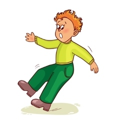 Little man slips on slippery floor and falls down vector image vector image