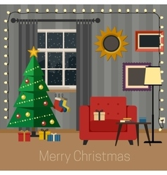 Living room with Christmas tree vector image