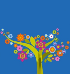 retro flowers background vector image vector image
