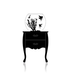 Round aquarium on a small table vector image vector image