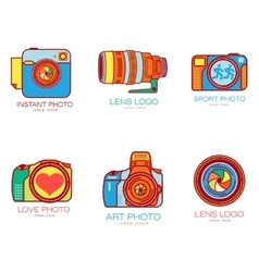 Set of colorful camera logo templates vector image