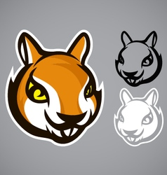 squirrel head brown logo emblem vector image vector image
