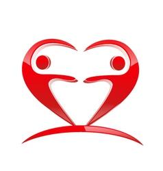 Teamwork heart shape logo vector image