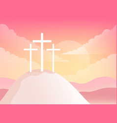 Three crosses on golgotha mountain christian vector