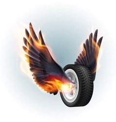 Wheel with fire wings vector image