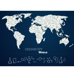 World map with chemistry background vector image