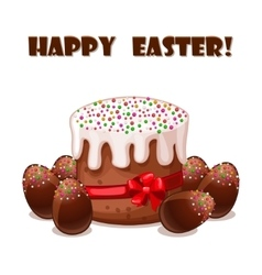 card Easter cake and chokolate eggs vector image vector image