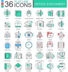 Office stationery color flat line outline vector image vector image